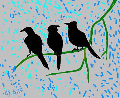 Crow. Bird Music Digital Art - Three Crows by Anand Swaroop Manchiraju