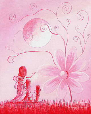 Flower Pink Fairy Child Painting - Pink Art Prints By Shawna Erback by Shawna Erback