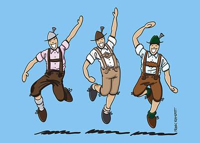 Oktoberfest Drawing - Three Dancing Oktoberfest Lederhosen Men by Frank Ramspott