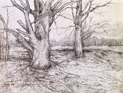 Drawing - Three Days Before Winter by Iya Carson