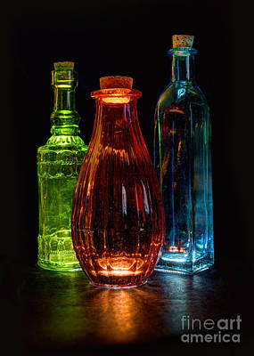 Art Print featuring the photograph Three Decorative Bottles by ELDavis Photography