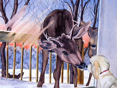 Buck And Doe Art Painting - Three Deer And A Doodle by Ruth Bodycott