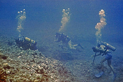Photograph - Three Divers In Hawaii by Bill Owen