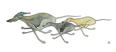 Whippet Painting - Three Dogs Illustration by Richard Williamson