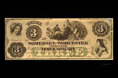 Three Dollar 1862 Maryland Private Bill Art Print by Thomas Woolworth