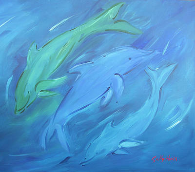 Wall Art - Painting - Three Dolphins by Sally Huss
