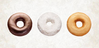 Painting - Three Donuts  by Danny Smythe