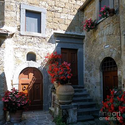 Photograph - Three Doors In Bagnoregio by Barbie Corbett-Newmin