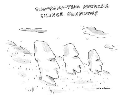 Three Easter Island Heads Are Show Art Print by Michael Maslin