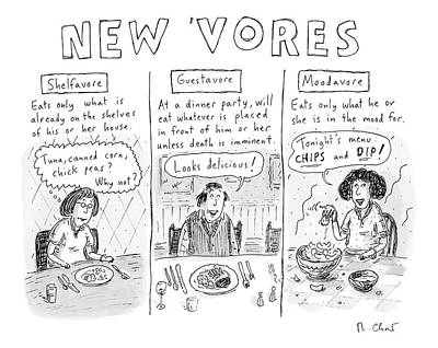 Omnivore Drawing - Three Eaters In Three Panels: The Shelfavore by Roz Chast