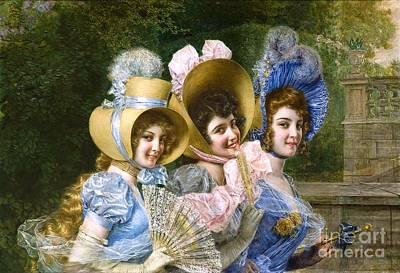 Painting - Three Elegant Ladies by Roberto Prusso