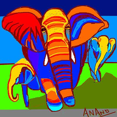 Life Study . Ganesha Digital Art - Three Elephants by Anand Swaroop Manchiraju
