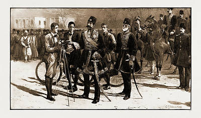 Vintage Camera Drawing - Three English Cyclists In Teheran Explaining The Camera by Litz Collection