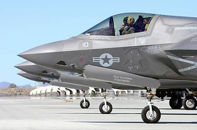 Lightnings Of Arizona Photograph - Three F-35b Lightning IIs At Marine by Riccardo Niccoli