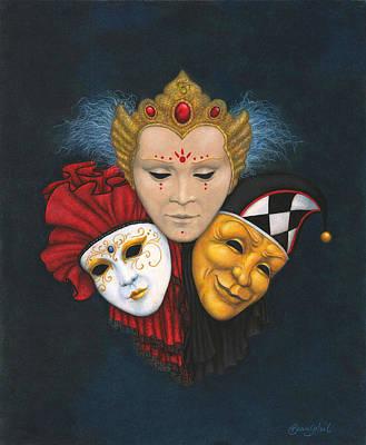 Three Faces Of Carnevale Art Print