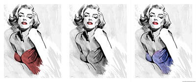 Portraits Of Celebrities Painting - Three Faces Of Marilyn by Ellie Rahim
