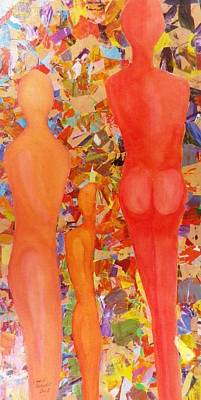 Representative Abstract Mixed Media - Three Figures by David Raderstorf