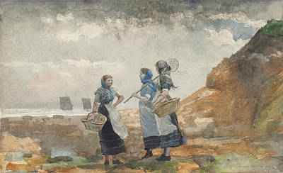 Three Fisher Girls Tynemouth Print by Celestial Images