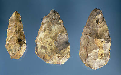 Three Flint Tools Stone Art Print by Paleolithic