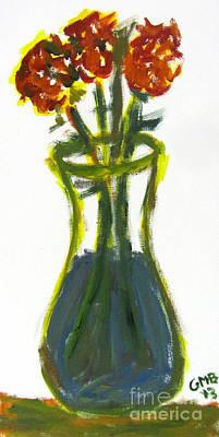 Naturaleza Muerta Painting - Three Flowers by Greg Mason Burns