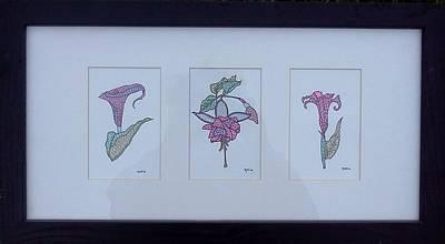 Drawing - Three Flowers by Kruti Shah