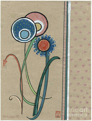 For Salons Painting - Three Flowers Motif For A Book Cover. 1999 by Cathy Peterson