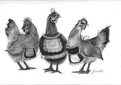 Three Chicks Drawing - Three French Hens by J Ferwerda