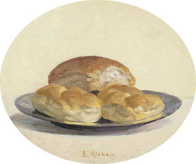 Painting - Three French  Rolls On An Iron Plate by Ben Rikken