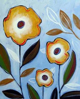 Abstract Leaves Painting - Three Friends by Amy Giacomelli