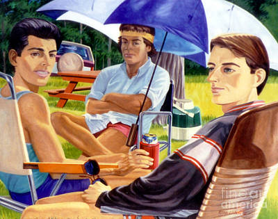 Painting - Three Friends Camping by Stan Esson