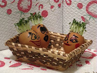 Photograph - Three Friends In A Tub Easter Eggmen Series by Ausra Huntington nee Paulauskaite