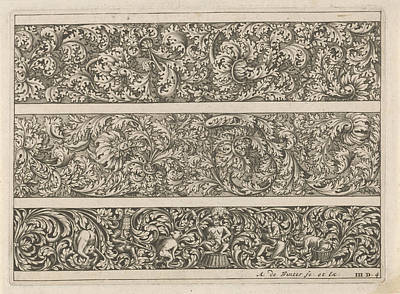 Three Friezes With Leaf Tendrils, Anonymous Art Print by Anthonie De Winter