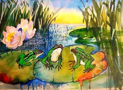 Painting - Three Frogs by Esther Woods