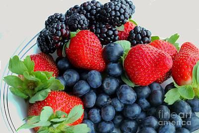 Strawberry Sundae Photograph - Three Fruit 2 - Strawberries - Blueberries - Blackberries by Barbara Griffin
