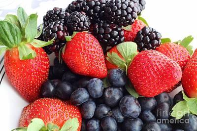 Three Fruit Closeup - Strawberries - Blueberries - Blackberries Print by Barbara Griffin