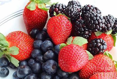 Strawberry Sundae Photograph - Three Fruit - Strawberries - Blueberries - Blackberries by Barbara Griffin