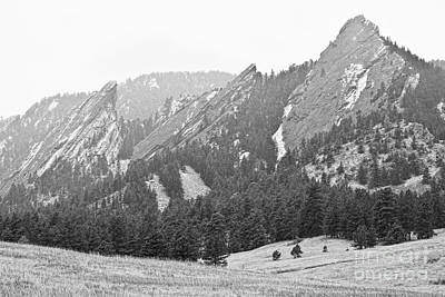 Rocky Mountains Photograph - Three Giant Flatirons View Boulder Colorado Bw by James BO  Insogna