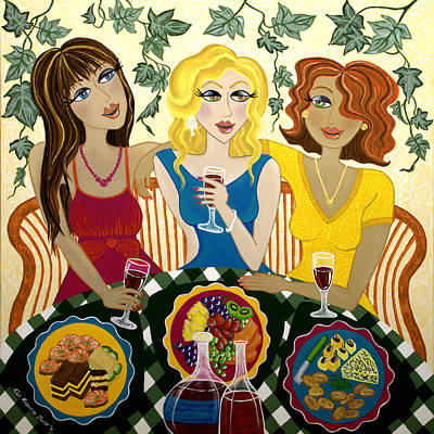 Red Wine Painting - Three Girlfriends Celebrate by Lisa Frances Judd