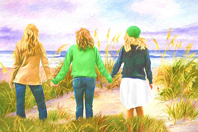 David Wagner Painting - Three Girls At The Beach by David Wagner