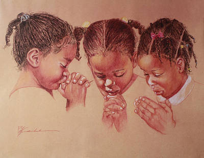 Pastel - Three Girls Praying by Pamela Mccabe