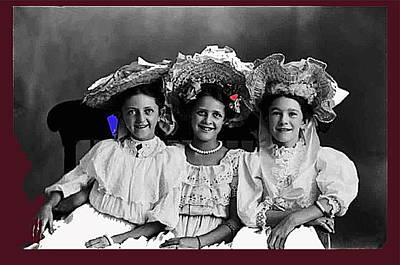 Three Girls Tucson Arizona Studio Of Henry Buehman In Circa 1887-2013 Original by David Lee Guss