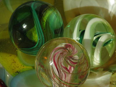 Photograph - Three Glass Marbles by Alfred Ng