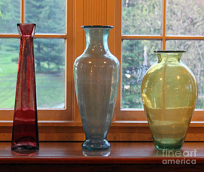 Photograph - Three Glass Vases In A Window by Karen Adams