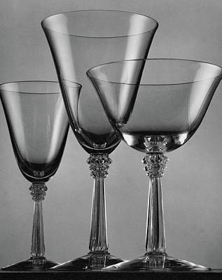 Table Wine Photograph - Three Glasses By Fostoria by Peter Nyholm