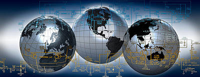 Electronics Photograph - Three Globes With Electronic Diagram by Panoramic Images