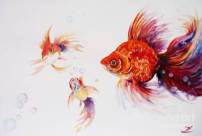 Painting - Three Goldfish by Zaira Dzhaubaeva