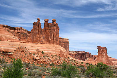 Natural Landscape Digital Art - Three Gossips - Arches National Park by Georgia Fowler