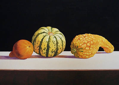 Still Life Painting - Three Gourds by Jean Yates
