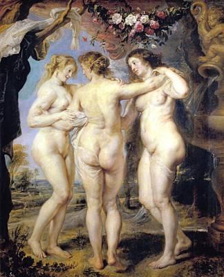 Peter Paul Rubens Digital Art - Three Graces by Peter Paul Rubens