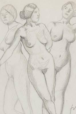 Nabis Painting - Three Graces Study  by Felix Edouard Vallotton
